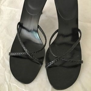 BANANA REPUBLIC Black Braided Strap Sandals